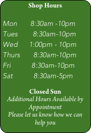 Shop Hours